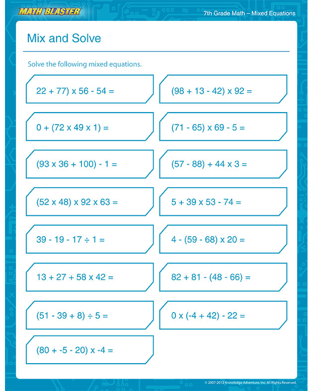 7th Grade Printable Worksheets Math Worksheet Kids – Math Worksheets for 7th Grade