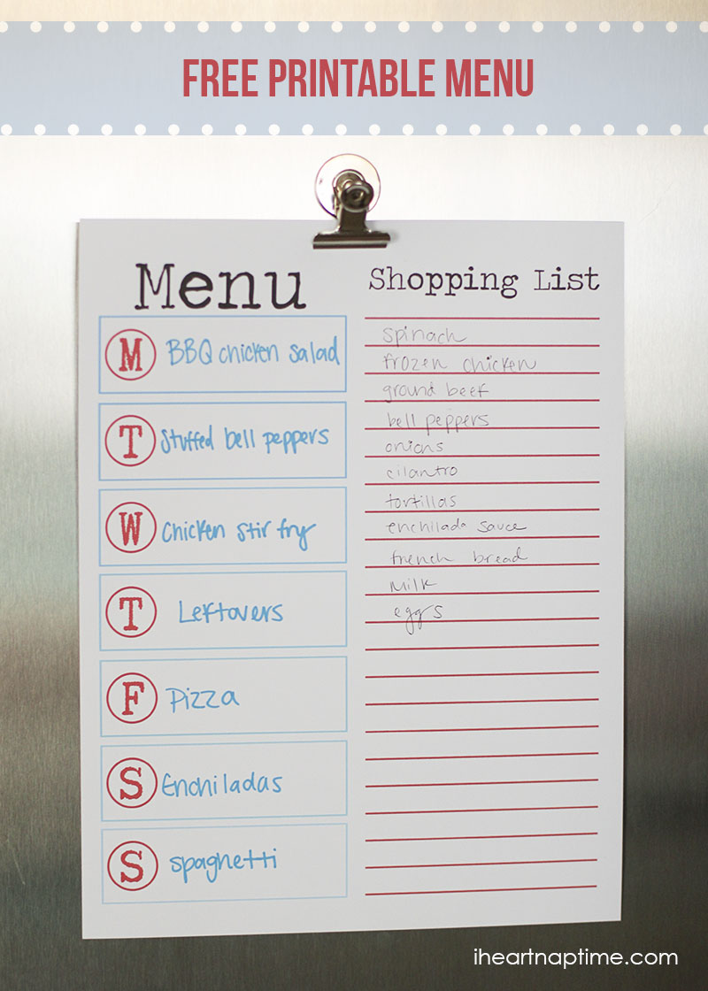 6 Images of Free Printable Menu