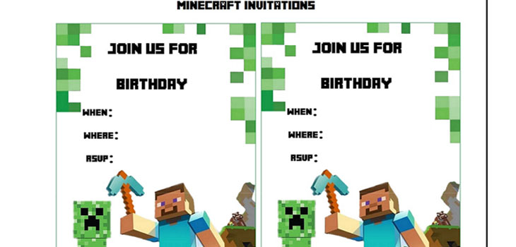 minecraft party invitations template | ctsfashion, Invitation templates