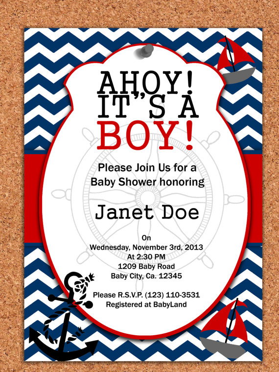 9 Images of Printable Nautical Baby Shower Invitations