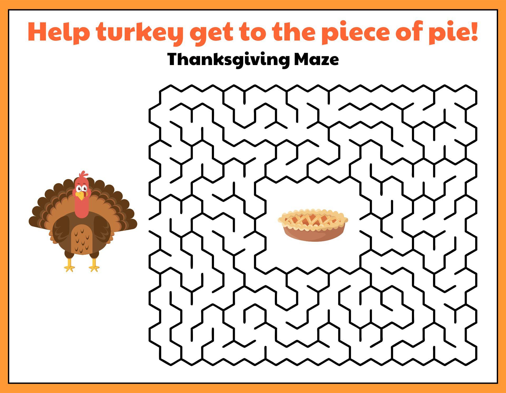 Printable Thanksgiving Games for Kids