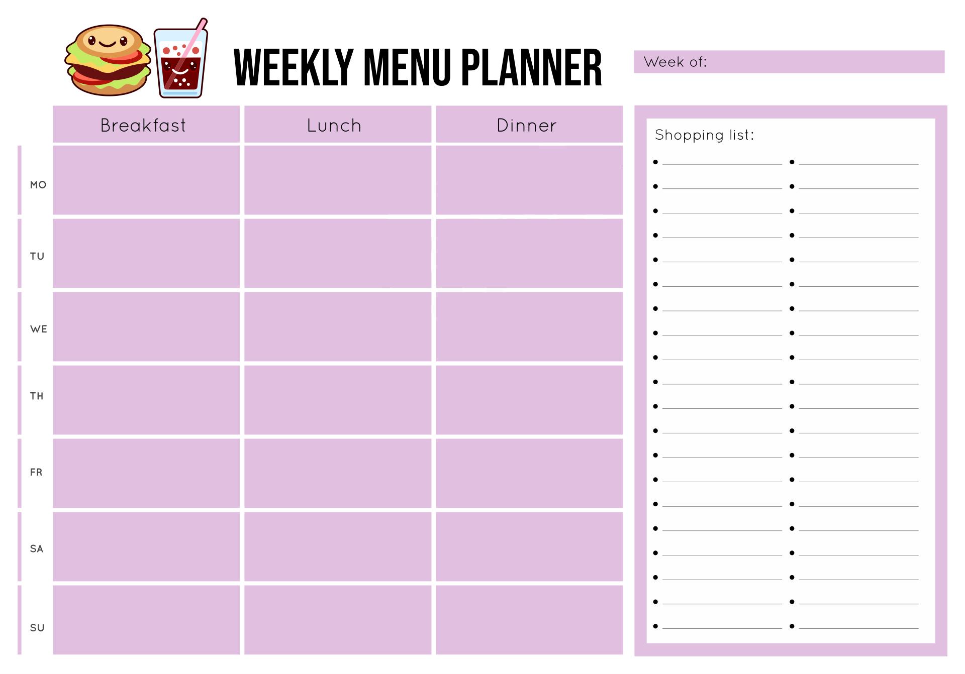 Weekly Menu Planner Template from www.printablee.com