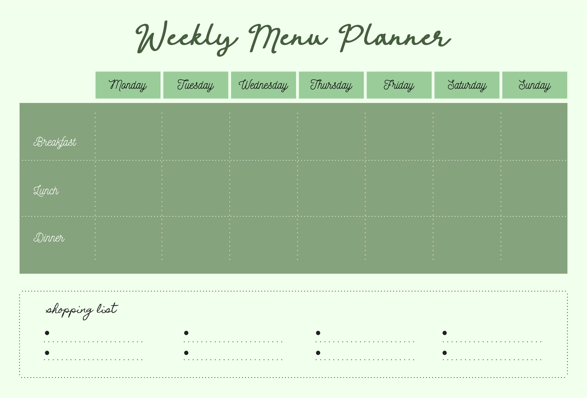 7 Images of Blank Meal Planner Sheet Printable
