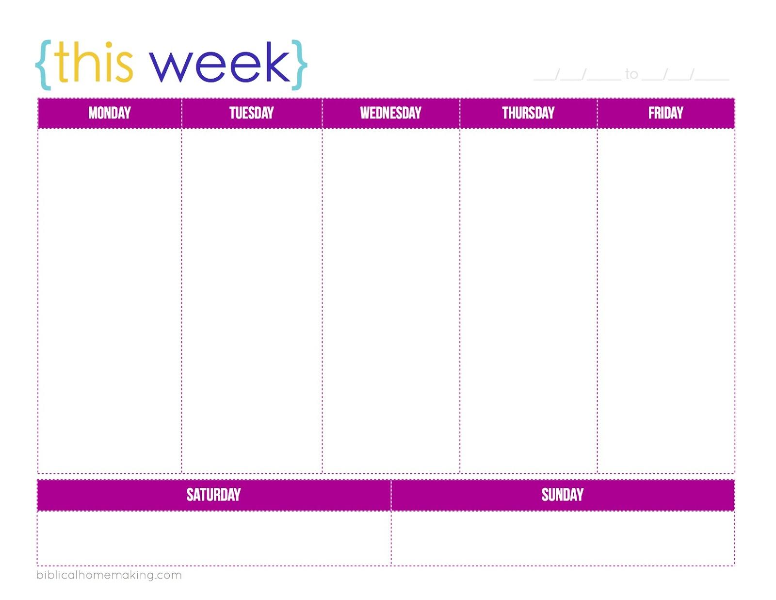 ... Free Printable Weekly Planner Calendars and Free Printable Week at a