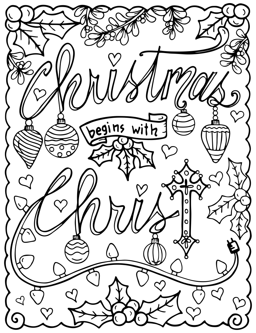 Religious Christian Christmas Coloring Page