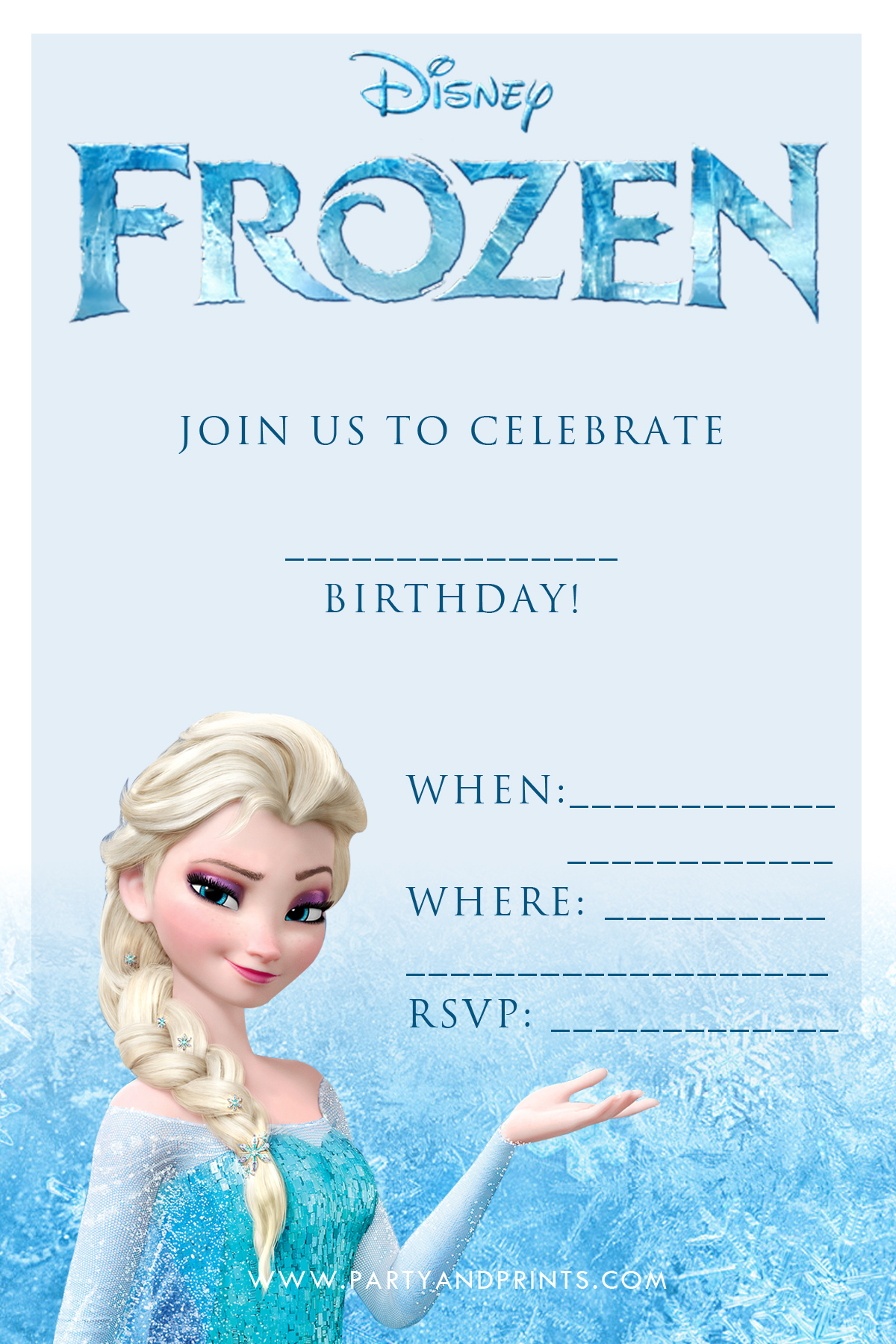 8 Images of Frozen Birthday Invitations Printable Template