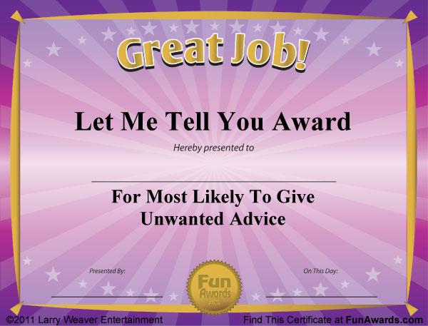 8 best images of joke certificates printable joke awards for Silly certificates awards templates