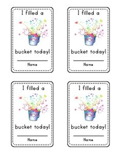 4 Images of Bucket Filler Card Printable