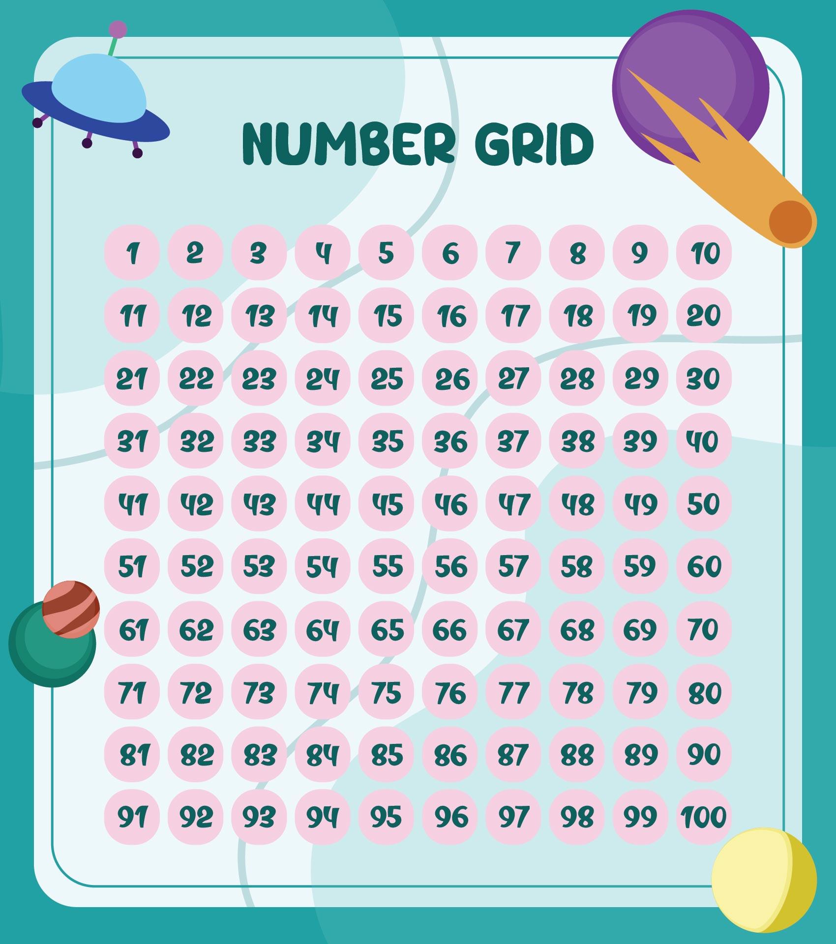 Math Number Grid Printable