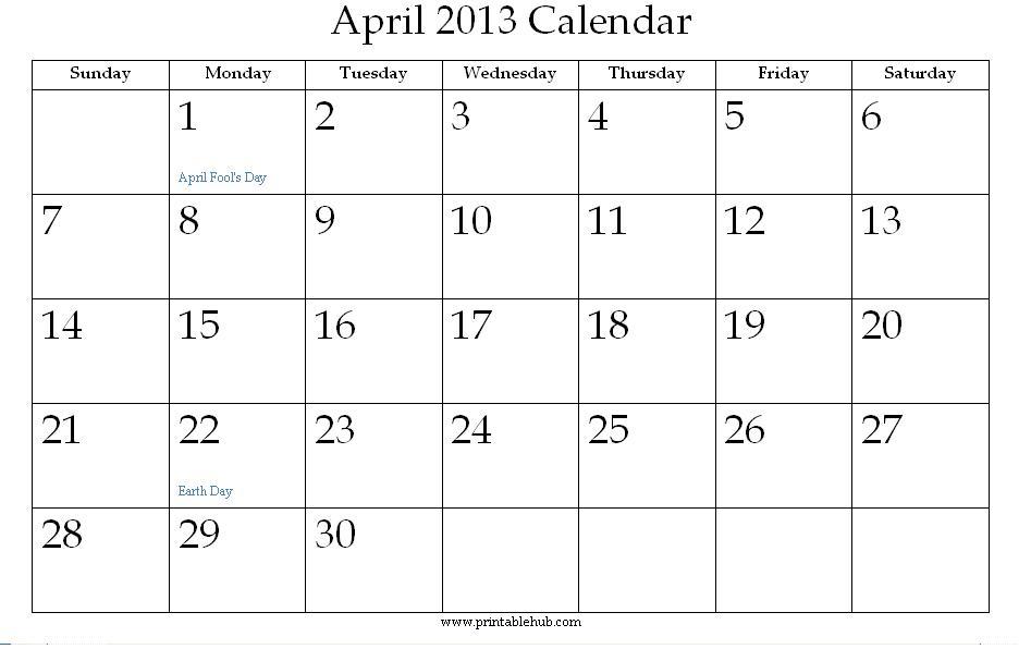 Calendar April 2013 Printable : Best images of april printable calendar monthly