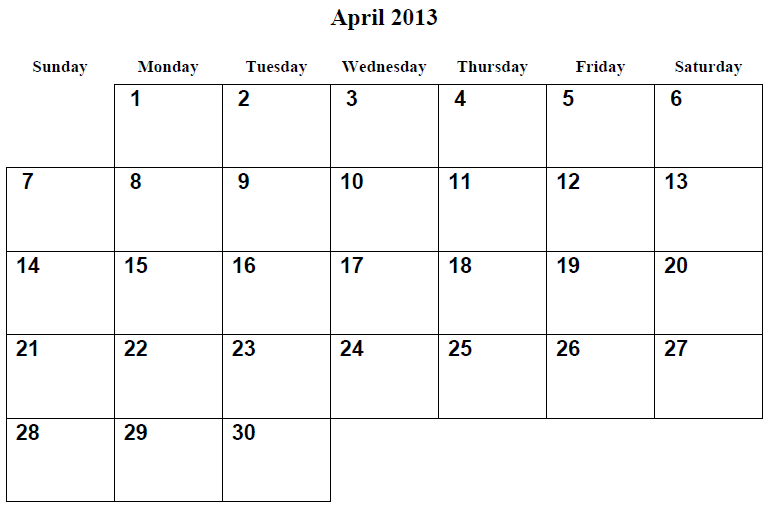 Best Images of April Printable Calendar 2013 - Monthly Printable ...