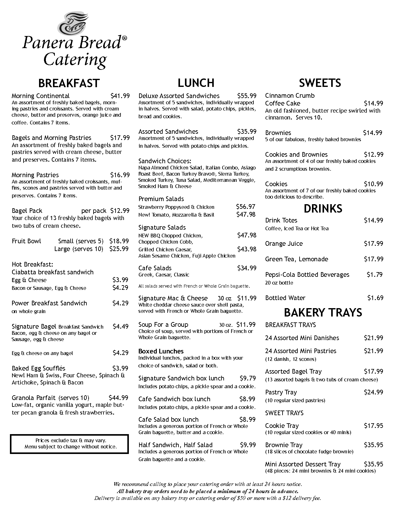 panera bread printable menu 8 best images of panera printable menu panera bread menu 23892