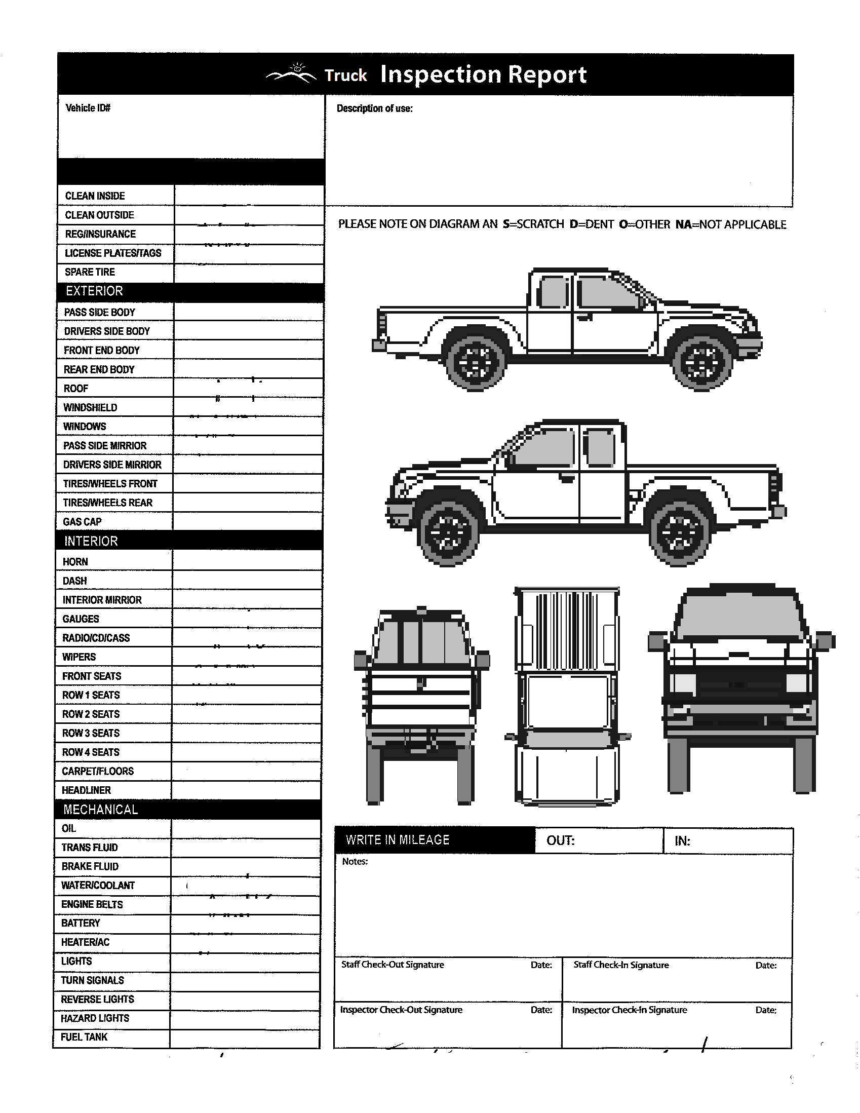 Candid image within free printable vehicle inspection form