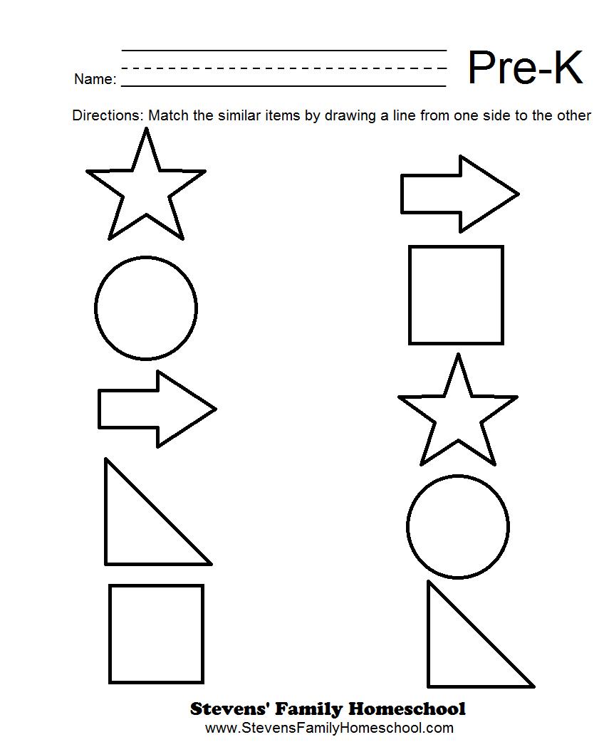 Printables Pre Kindergarten Printable Worksheets 4 best images of free printable worksheets pre k matching worksheets