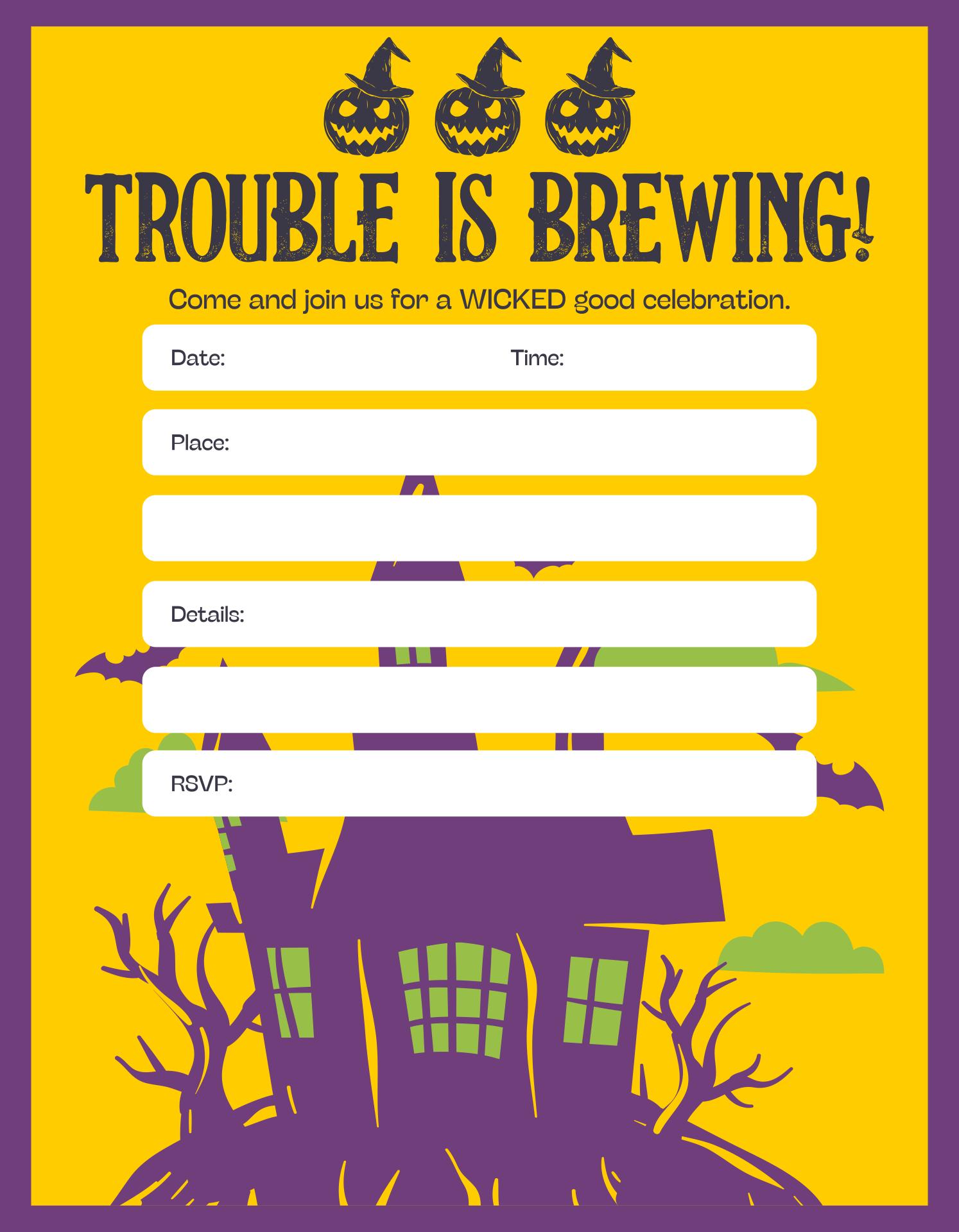 Printable Blank Halloween Invitations