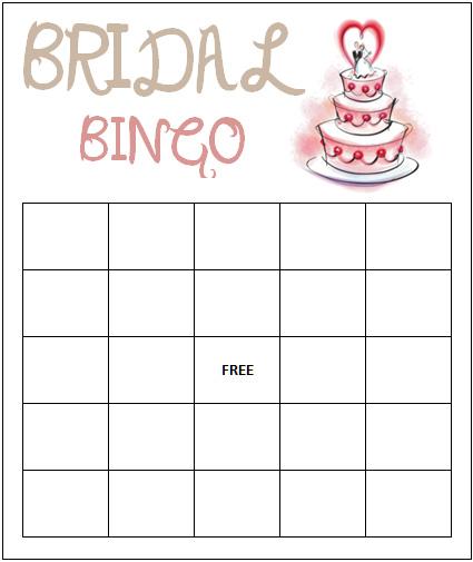 5 Images of Printable Bridal Bingo Template Blank
