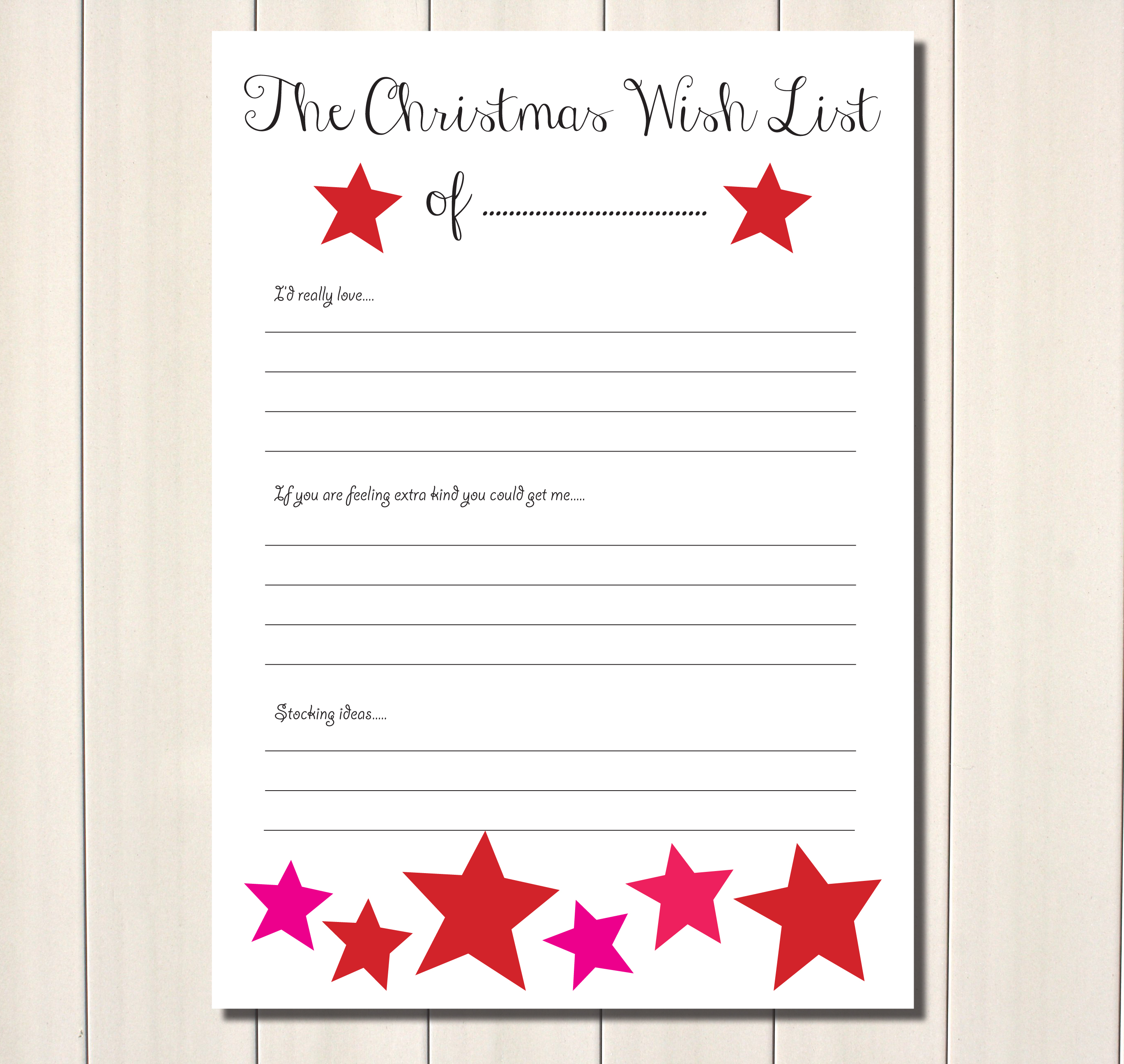 Printable Christmas Wish List Ideas