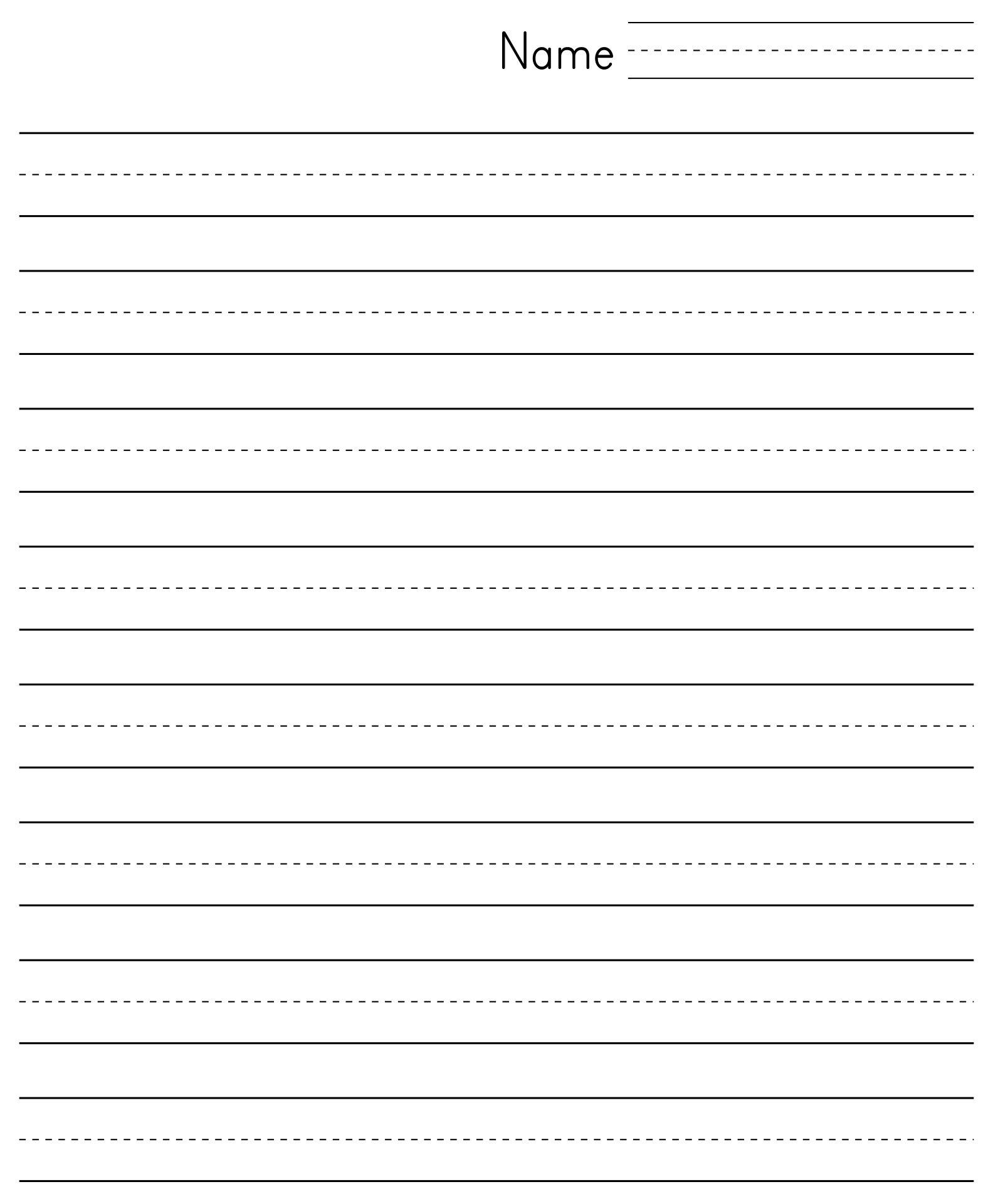 Printable Lined Paper for Kindergarten