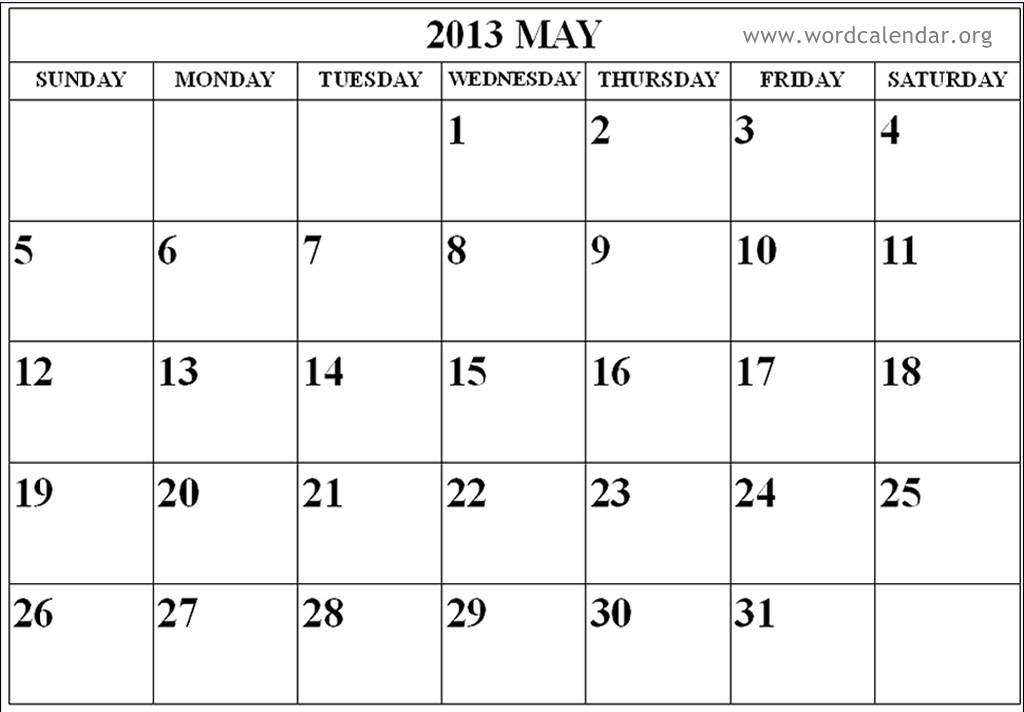 Calendar May 2013 : Best images of may calendar printable template
