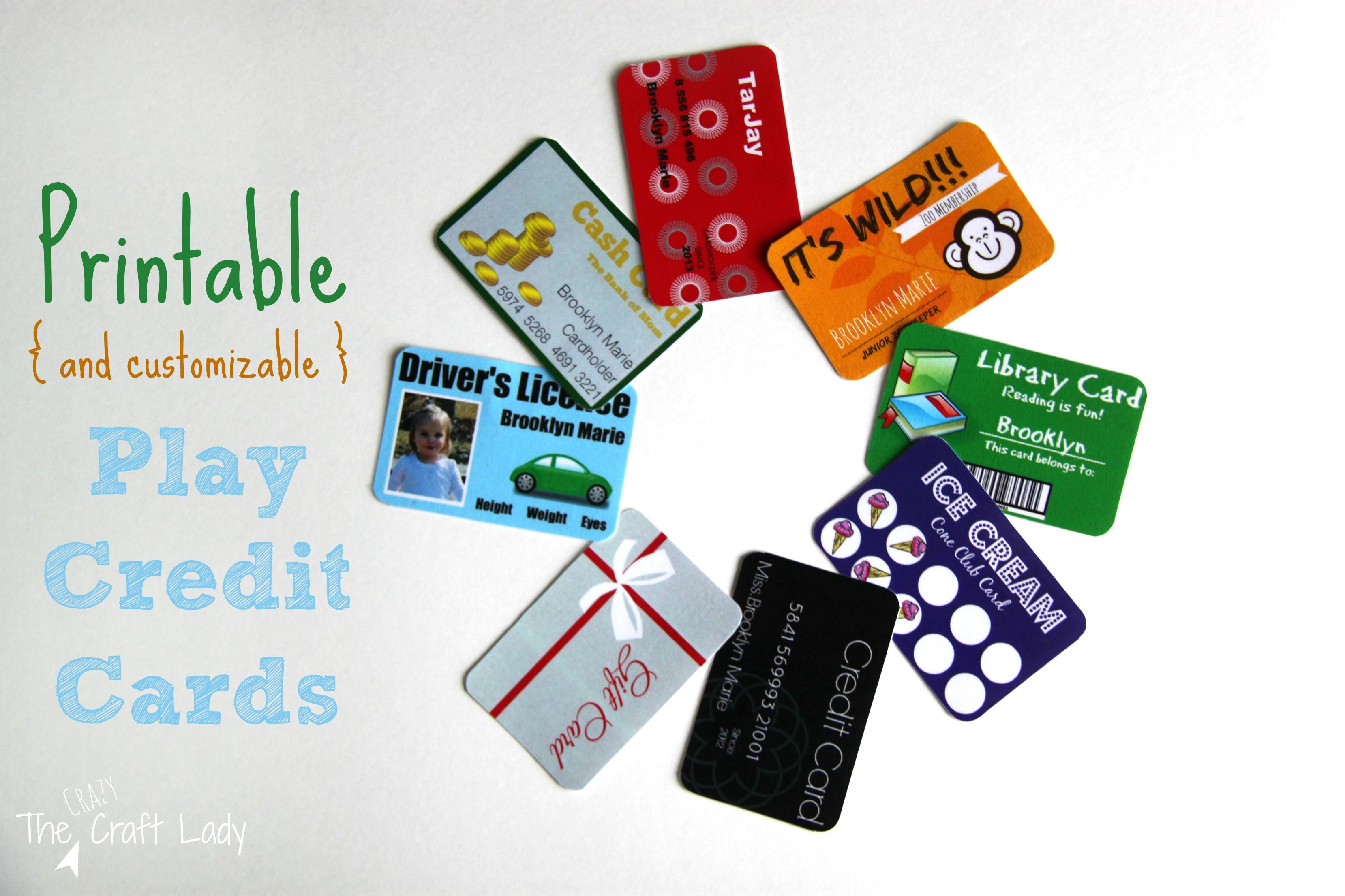 Free Kids Fake Printable Credit Cards