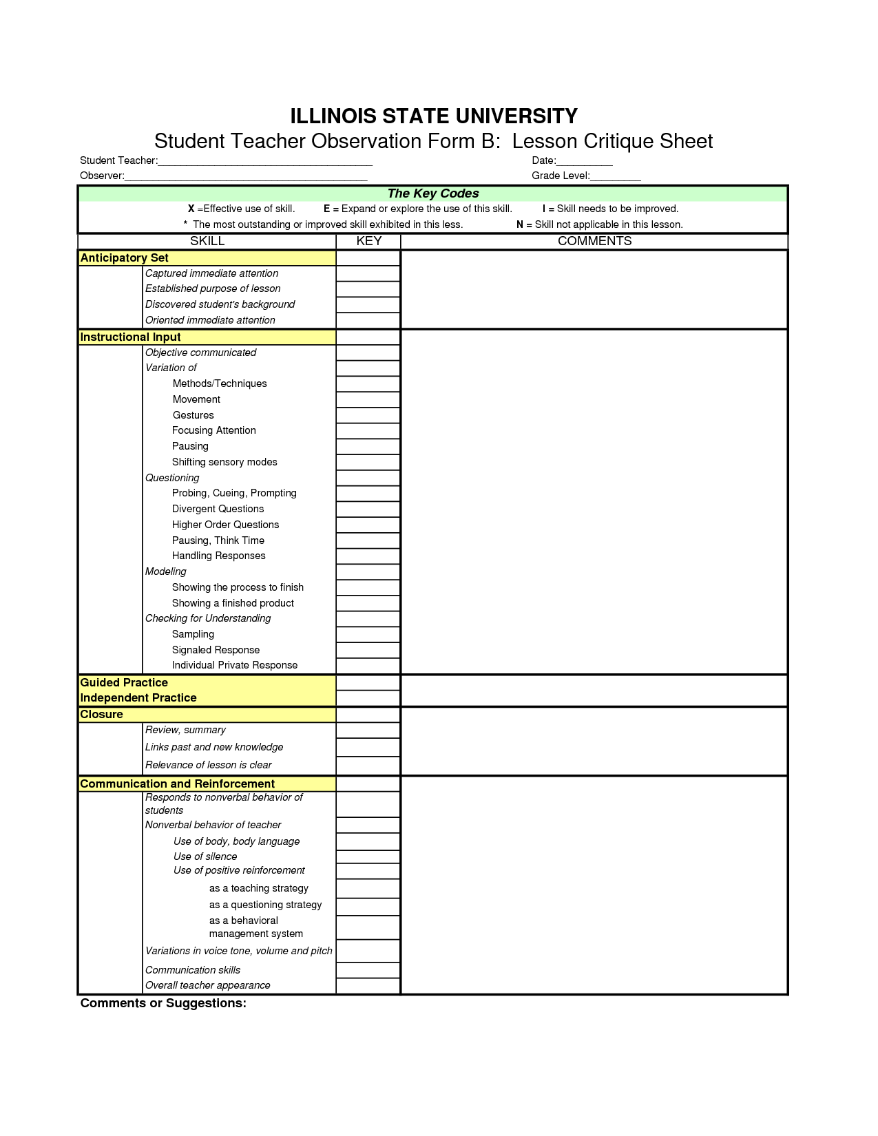 Behavior Chart Template, Student Behavior Observation Form Template ...