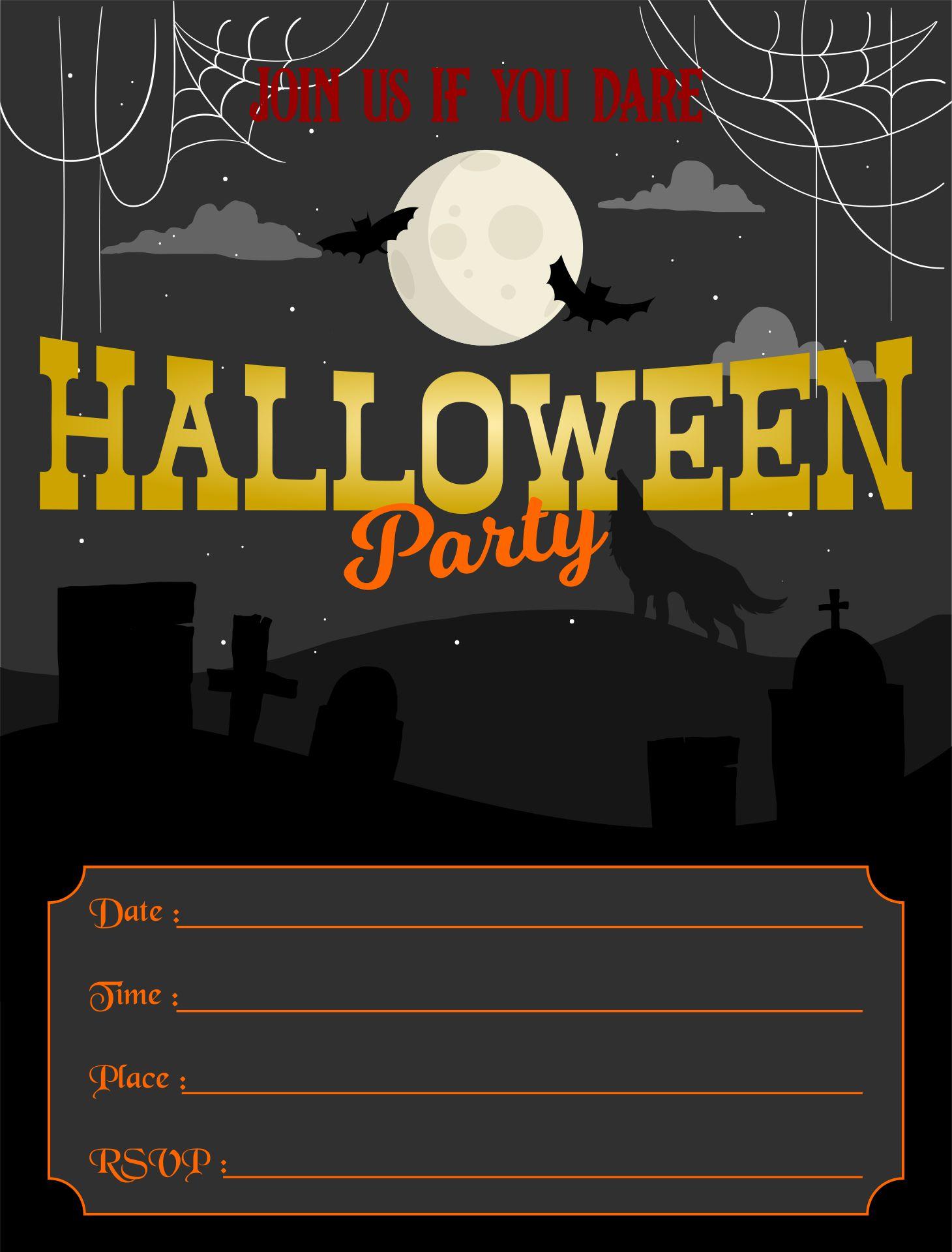 Scary Halloween Invitations Printable Free