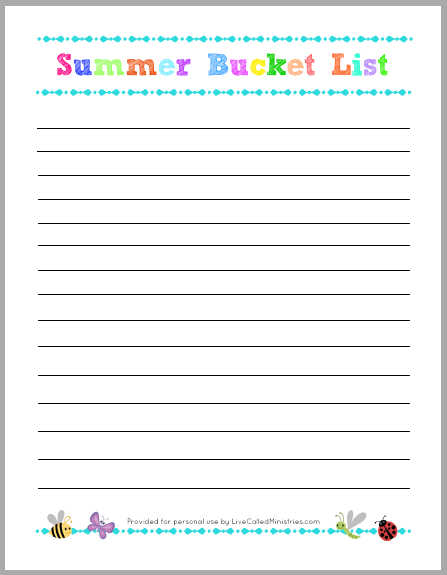 8 Images of Summer Bucket List Writing Printable