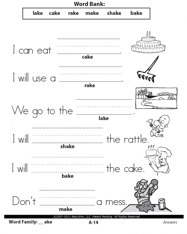 1st Grade Grammar Worksheets : Best images of st grade word family printables fact