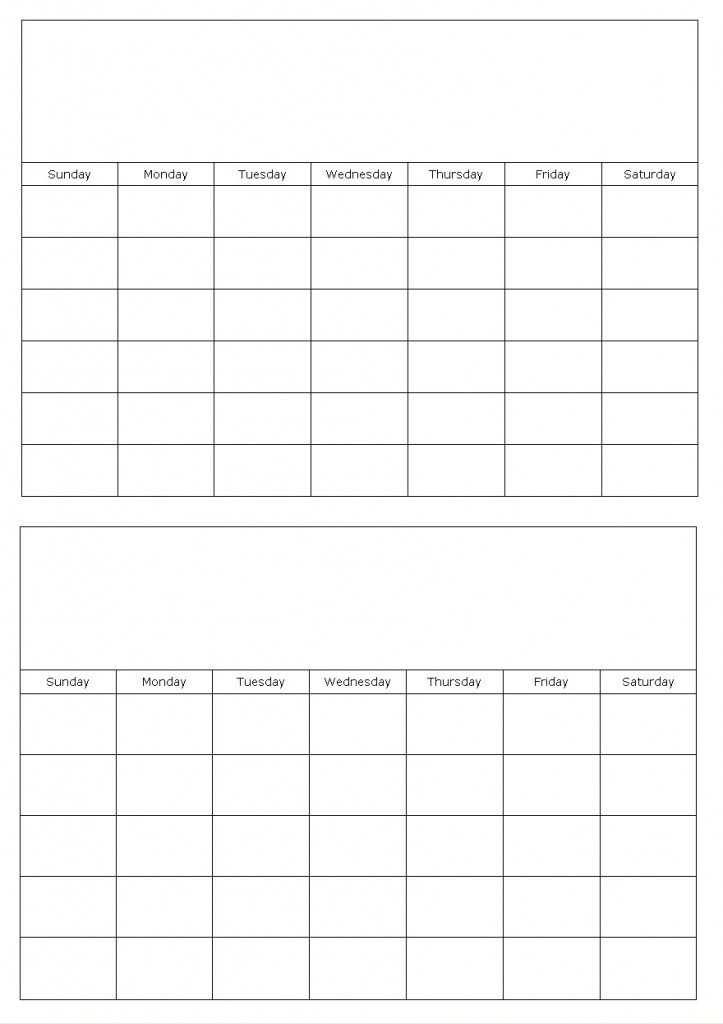 Two Pages - Printable 2016 Calendar 2 Month per Page, Two-Page Monthly ...