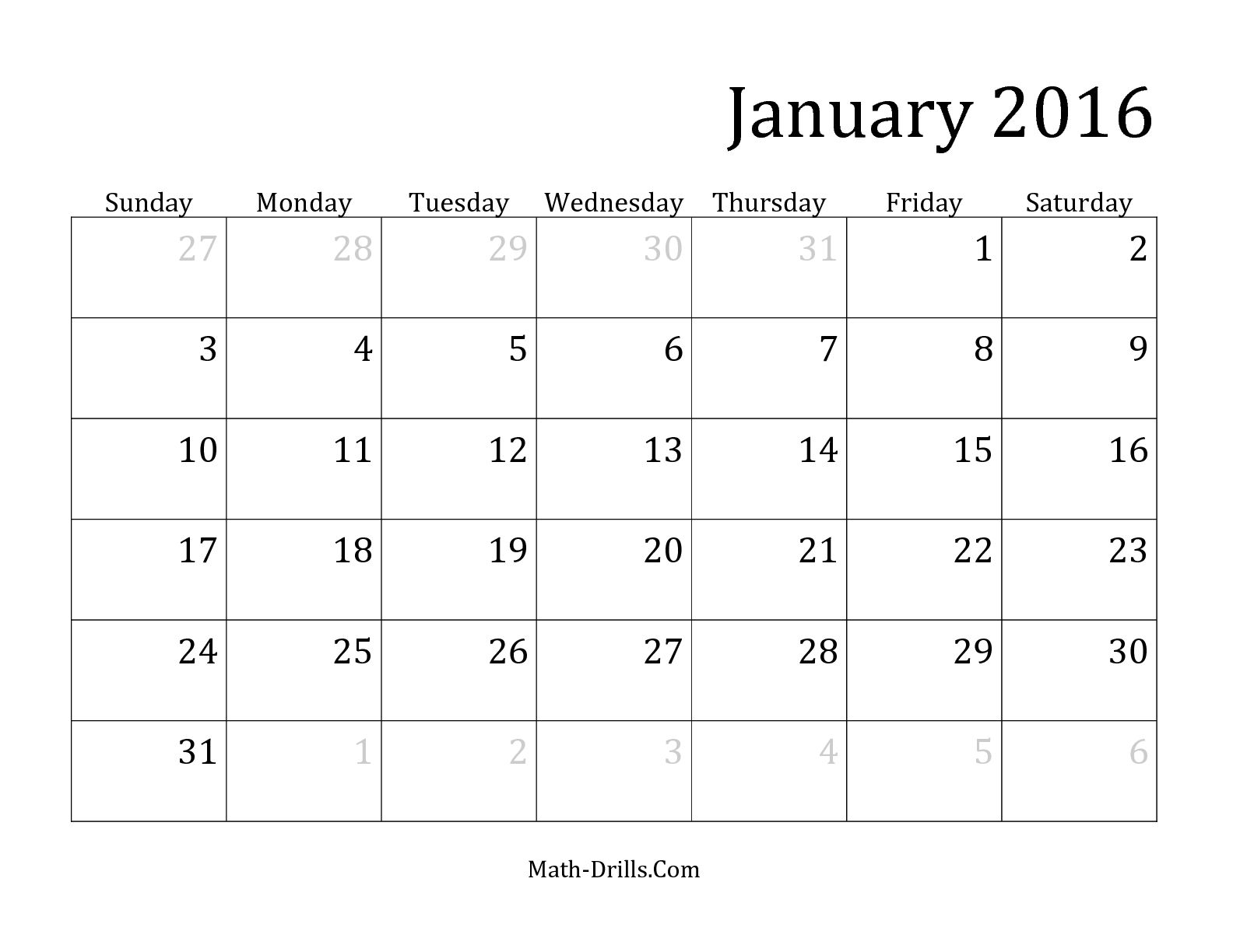 2016 Printable Monthly Calendar 2015
