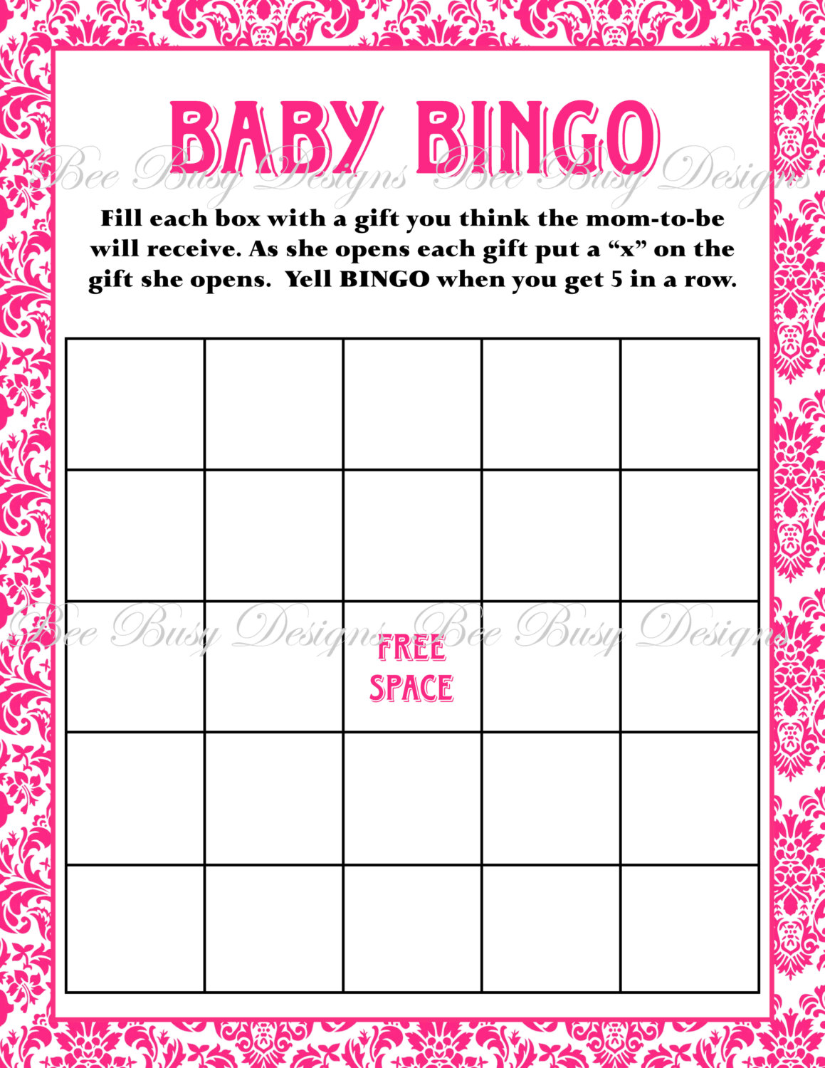 8 Best Images Of Baby Bingo