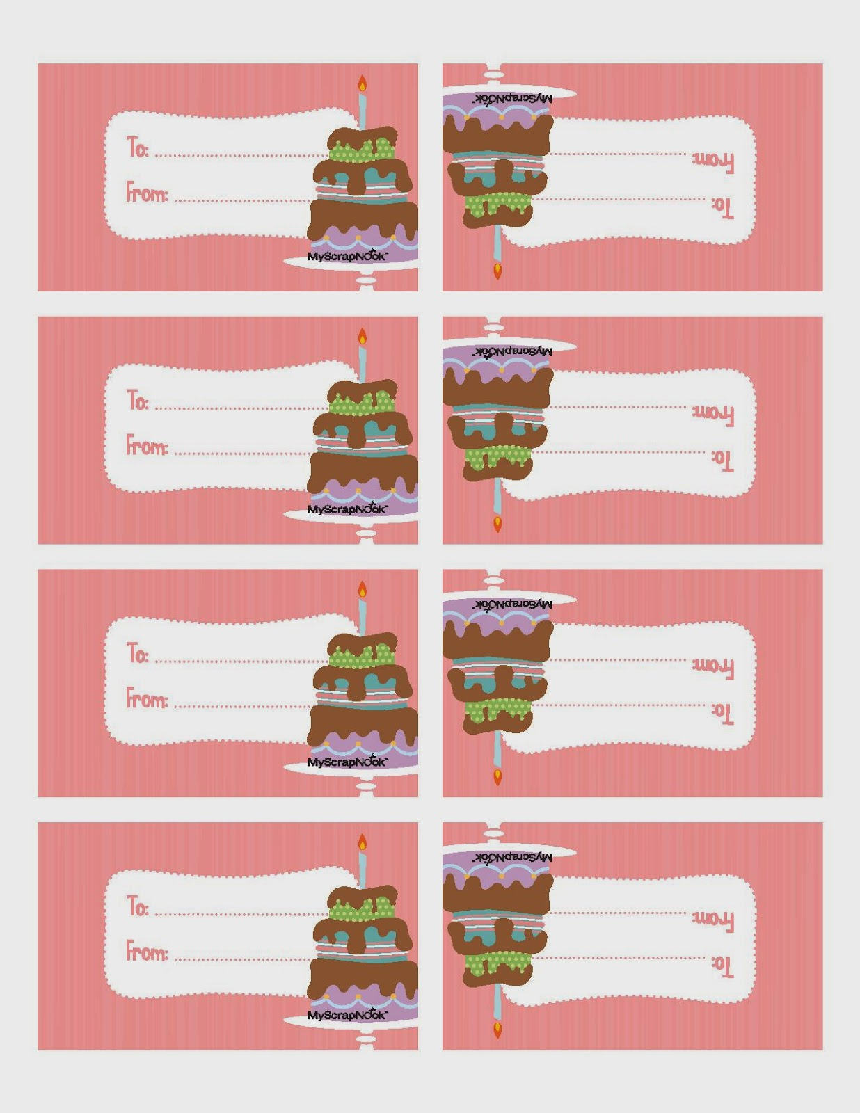 7 Images of Printable Tags Birthday Cake