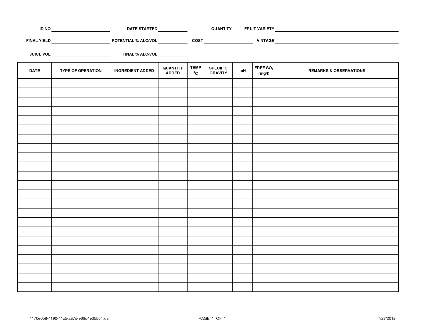 Printable Log Sheet Templates