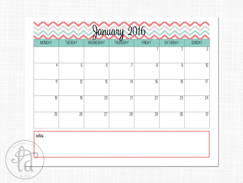 Cute Printable January Calendar 2016