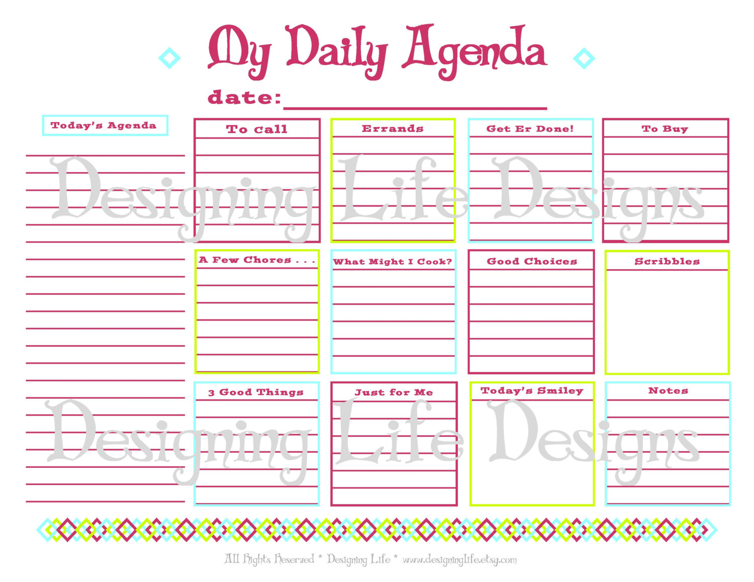 Calendar Art Questions : Best images of daily agenda printable pdf