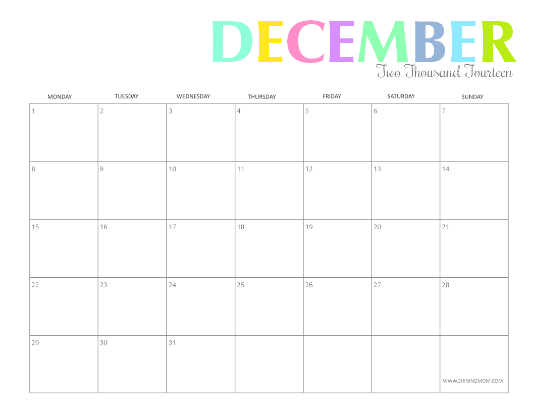 7 Images of 8 X 11 Printable December Calendar 2014