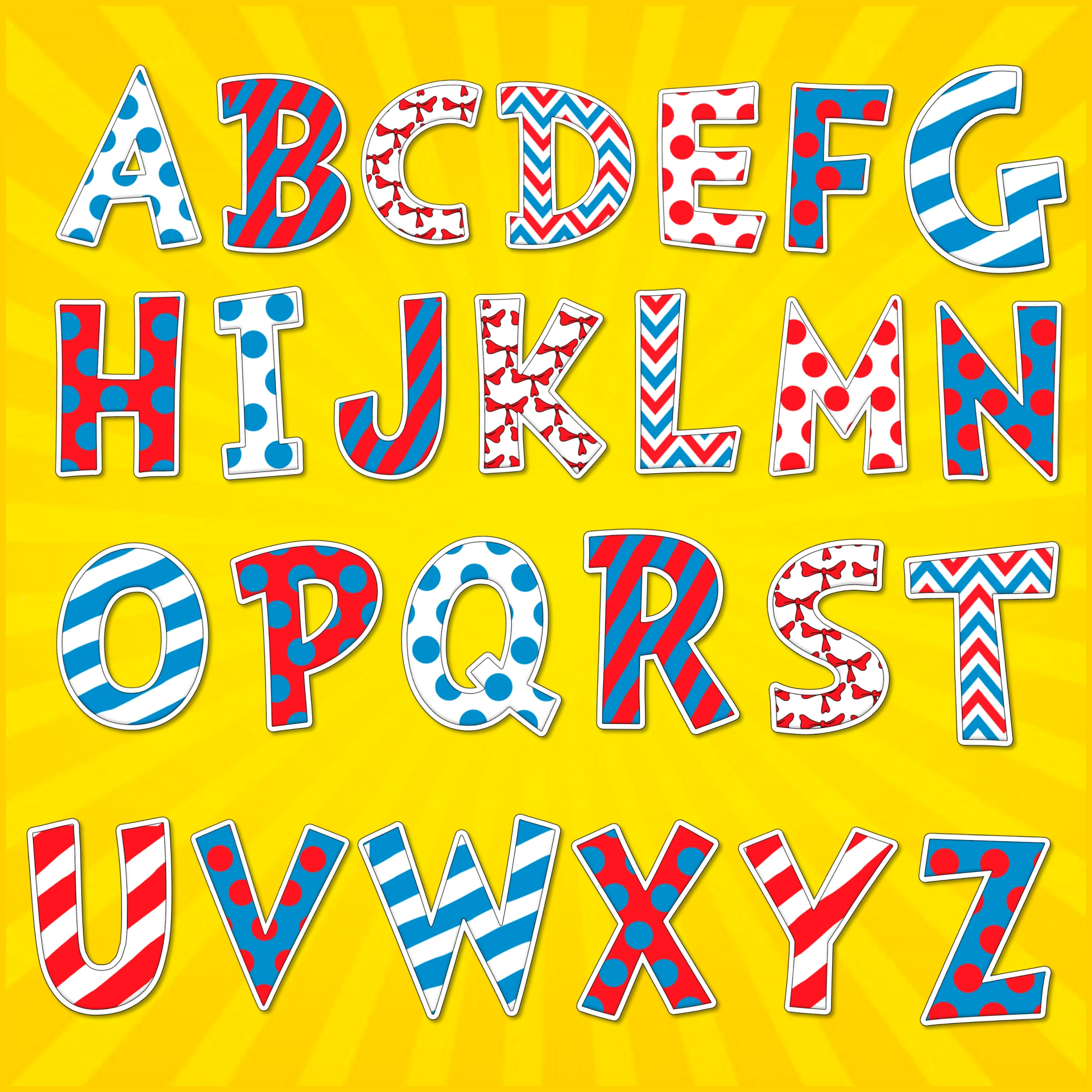 Dr. Seuss Alphabet Letters for Bulletin Boards