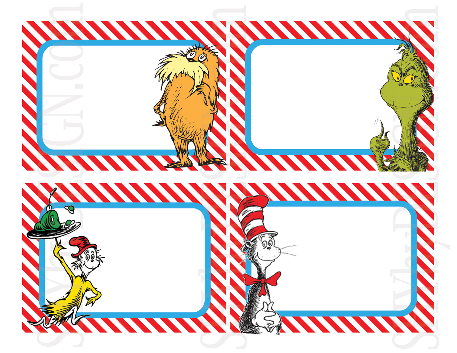 8 Images of Dr. Seuss Name Tags Printable Free