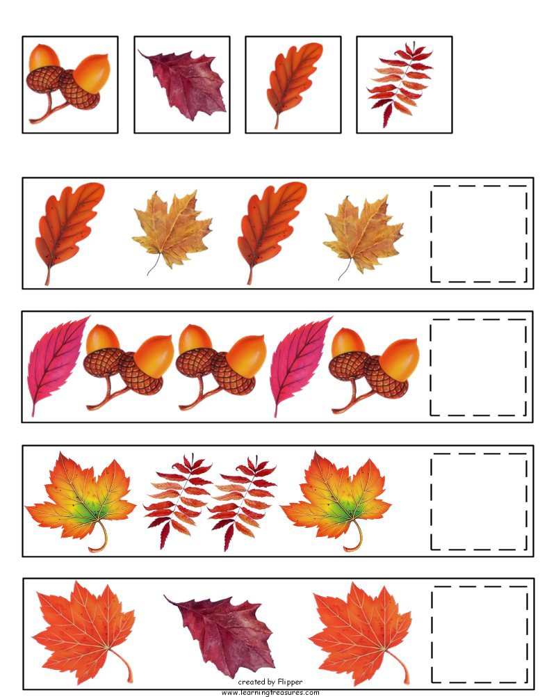 Printables Fall Worksheets For Preschool autumn math worksheets for preschoolers fall pattern kindergarten