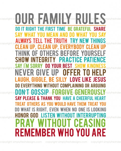 5 Images of Our Family Rules Printable