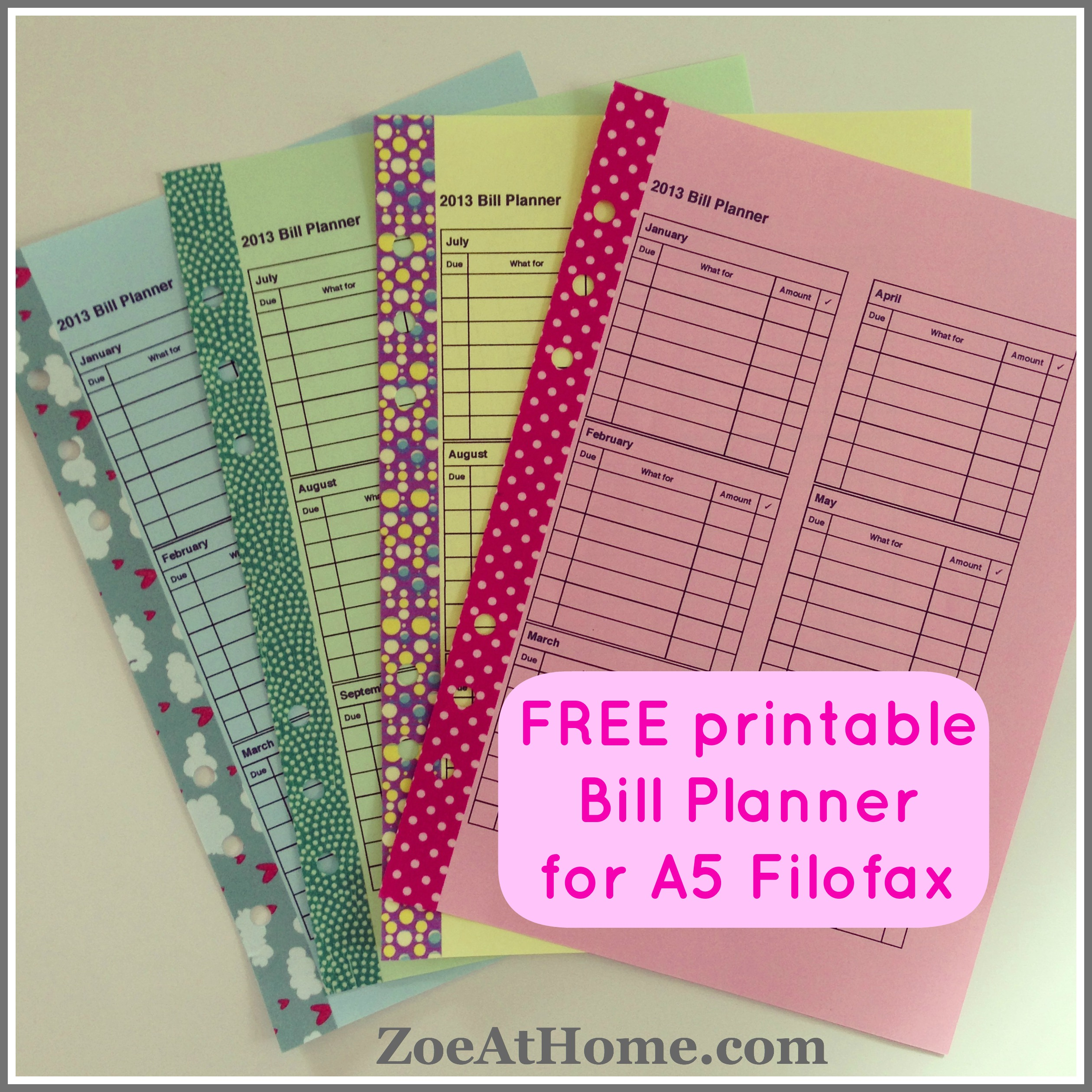 9 Images of Budget Filofax Printables