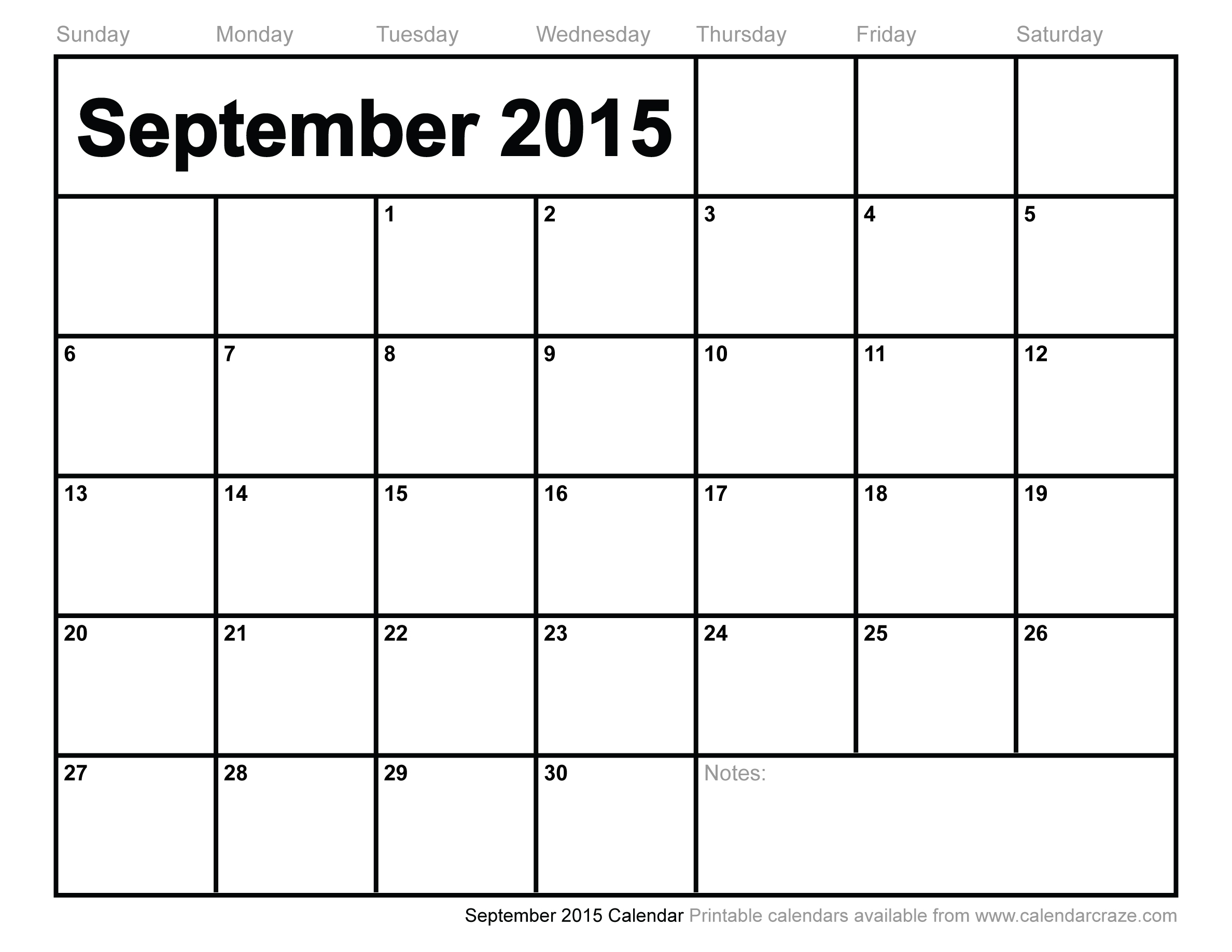7 Images of Printable 2015 Calendar September