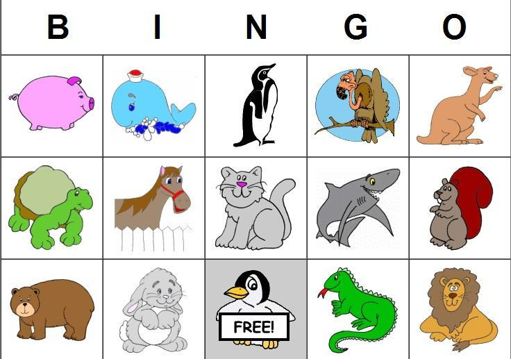 9 Images of Free Printable Animal Bingo Game