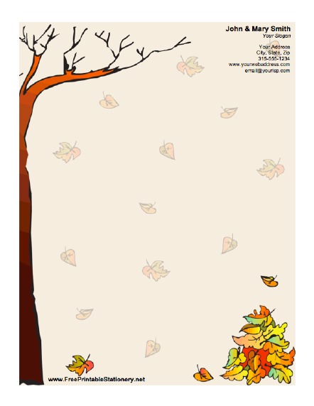4 Images of Free Printable Fall Stationery Templates