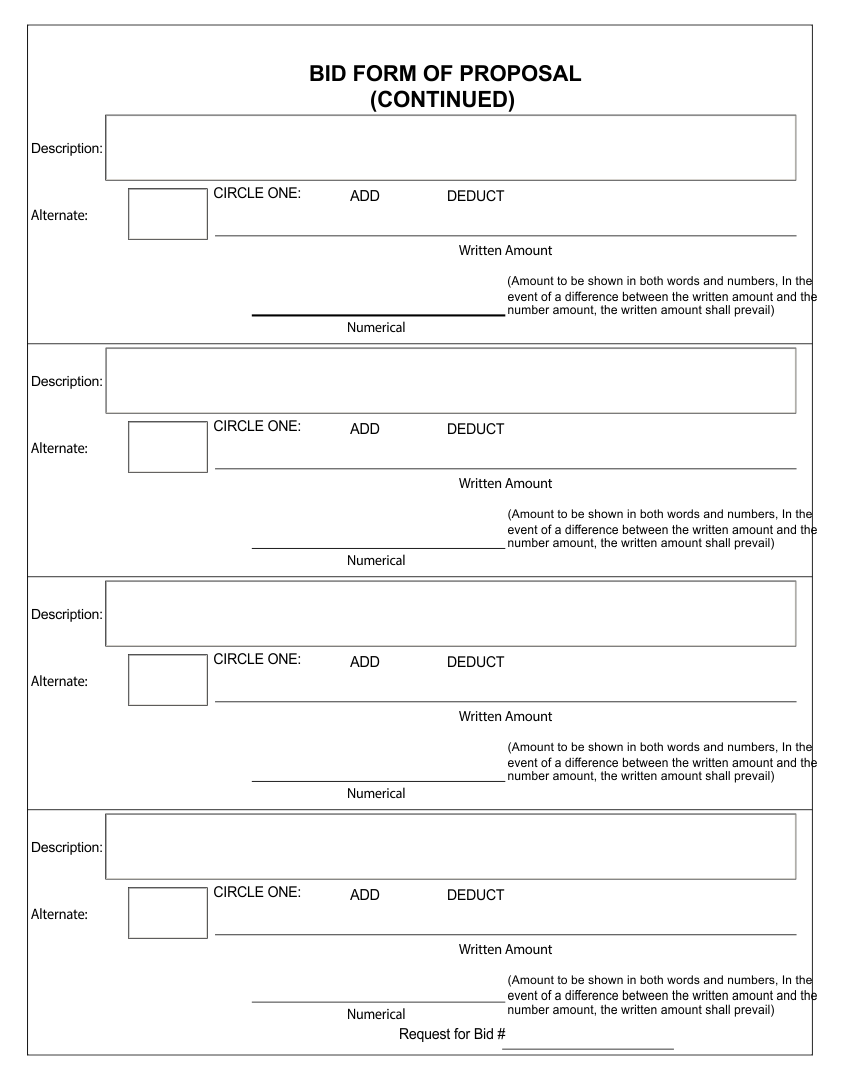 Free Printable Bid Proposal Templates