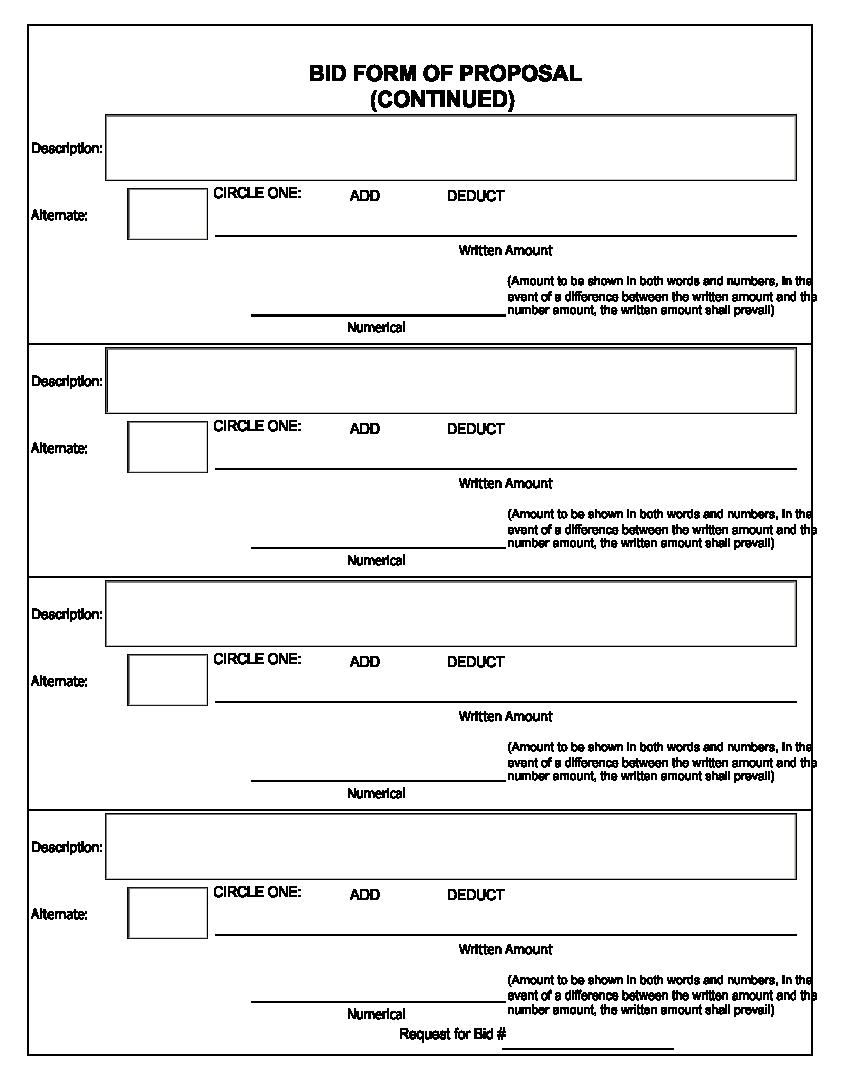 Printable Blank Bid Proposal Forms