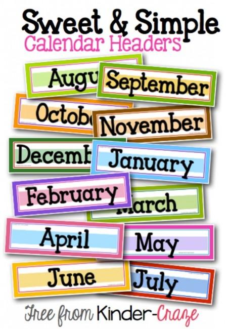 8 Images of Preschool Printable Calendar Month Headers