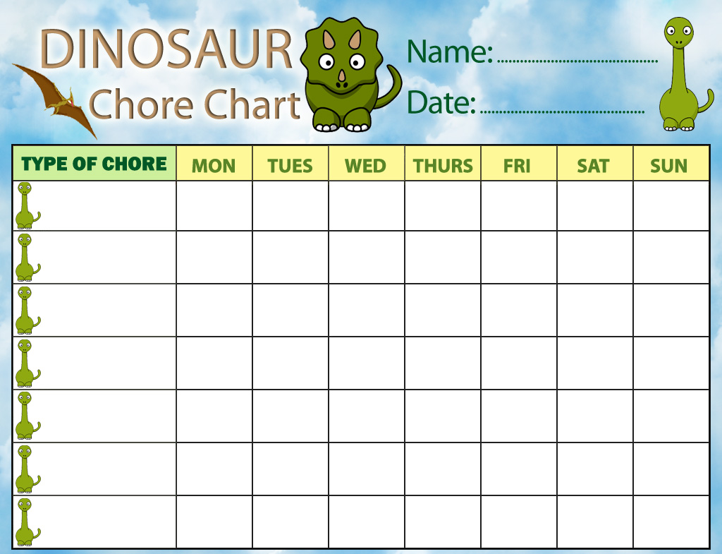 7 Images of Printable Chore Charts For Boys