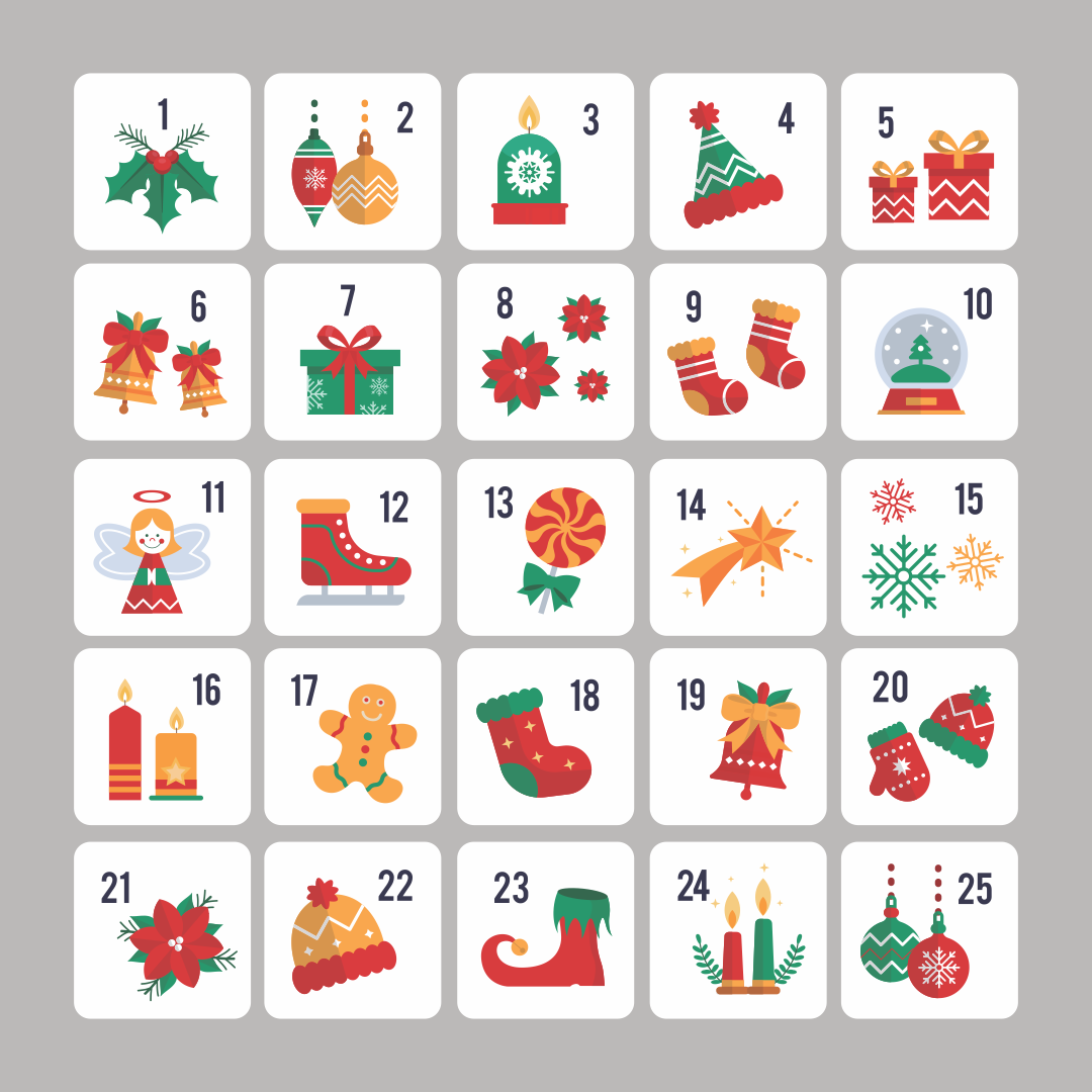 Printable Christmas Advent Numbers
