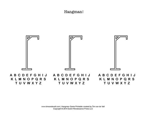 6 Images of Blank Hangman Game Printable